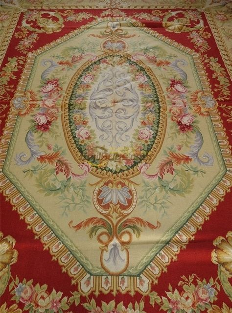 W-020 8x10 9x12 Amazing Classic European Palace Chateau Gorgeous Design Aubusson Rug gc8aubyg13
