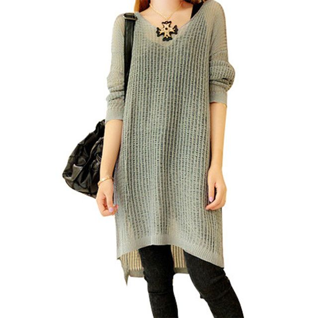 Long-sleeved Knit Sweater Dress Slit Spring Long Pullover Women New Korean Loose Pull Thin Hollow Jumper Dresses Vestidos LXJ066