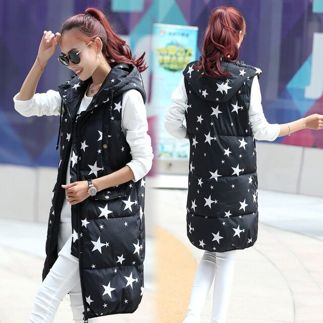 Women Long Style Vest Winter Star Thick Warm Women Waistcoat Sleeveless Coat For Female Outwears Down Jacket Lady Plus Size
