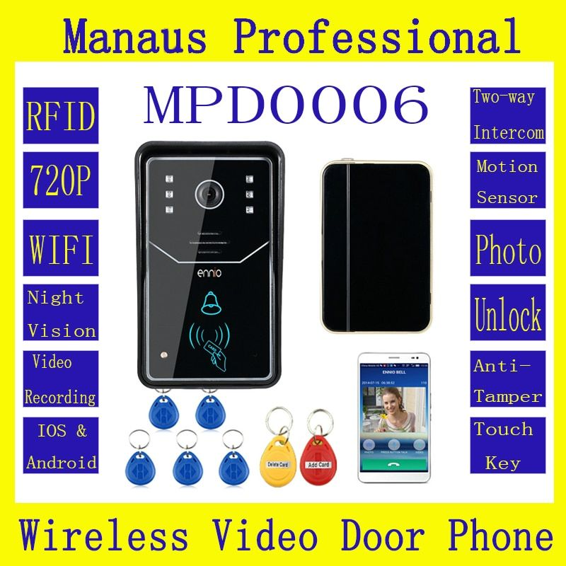 Professional Smart Home Touch Key WiFi Door Bell Wireless Video Door Phone Home Intercom System RFID IR Night Vision Camera D6C