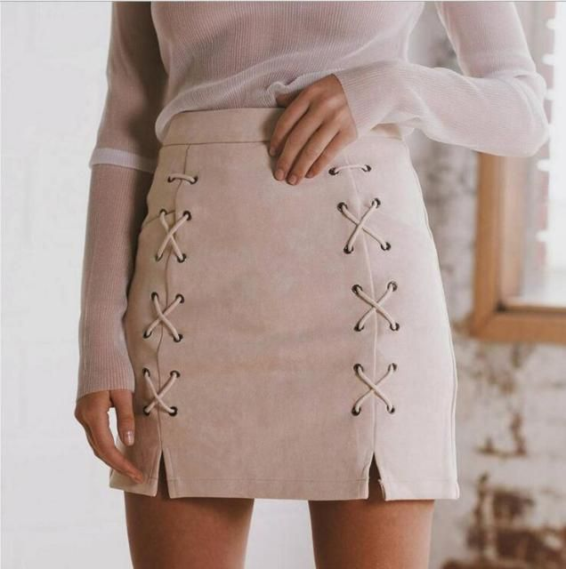 2016 Winter high waist leather suede pencil skirt classic chic slender bodycon short skirt leisure zipper split short skirt wome