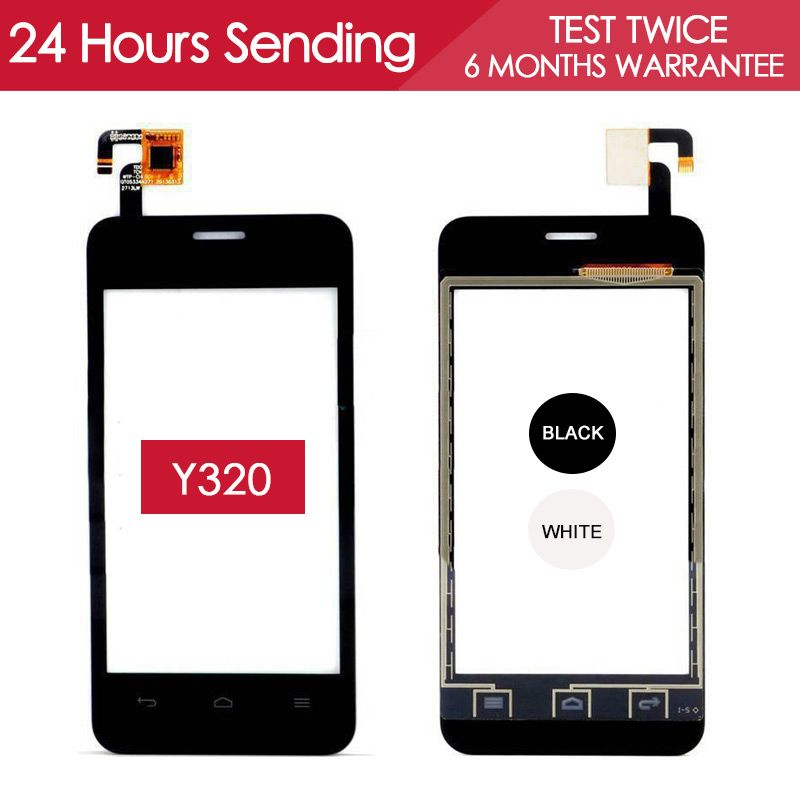Tested AAA Quality Sensor Touchscreen For Huawei Y320 Touch Screen Digitizer Glass Panel Black White Replacement Parts