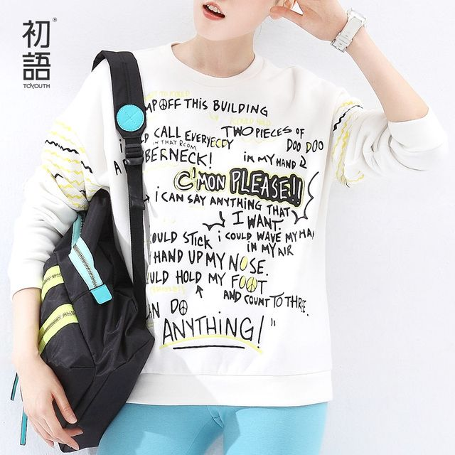 Toyouth Women New Sweatshirts Fashion Letter Print  Long-Sleeve O-Neck All-Match Pullovers Female Casual Tops