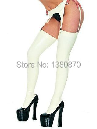 Hot Sale! Sexy white latex leggings stockings with garter