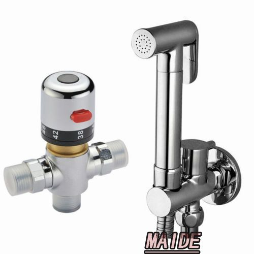 Thermostatic Mixing Valve & Brass Toilet Hand Held Bidet Spray Shattaf Sprayer Shower Set Jet Douche kit & Brass Holder
