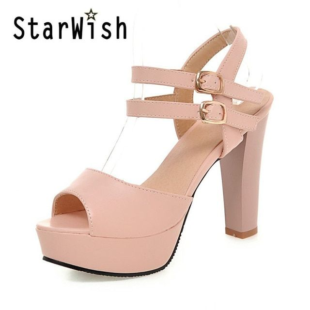 STARWISH Ladies Casual Open Toe Platform High Heels Sandals Sweet Ankle Strap Gladiator Sandals For Women Big Size 34-45 Sandals