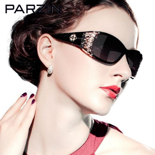 Parzin Polarized Sunglasses Women Hollow Frame Sun Glasses  Designer Female Ladies Shades Sunglases  Eyewear Black With Case