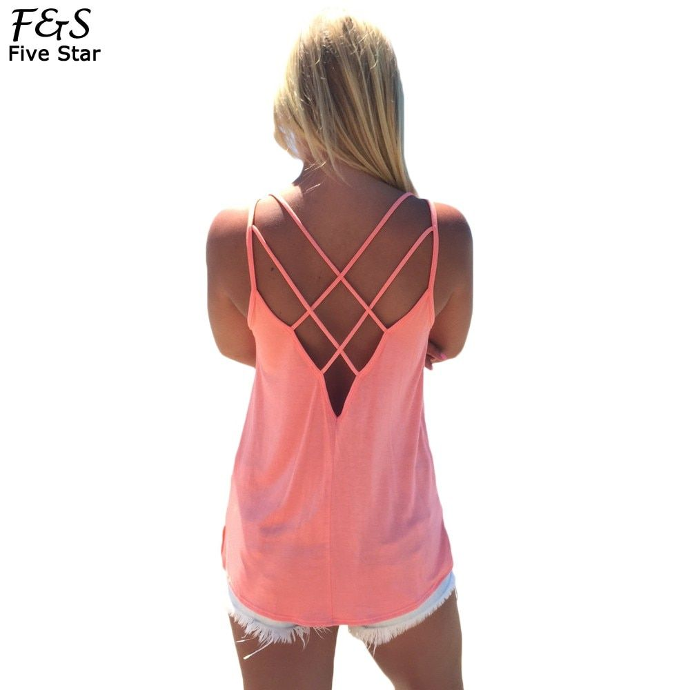 Fashion Hot Women Sexy Strap Tank Tops Summer Backless Vest Shirt Camis Solid Color Hollow Out Cage Vest Tank Tops