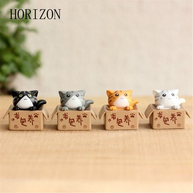 4 pcs Cute Cat Mini Fairy Resin Decorative Crafts Home Decoration Terrarium Accessories House Figurines Gifts