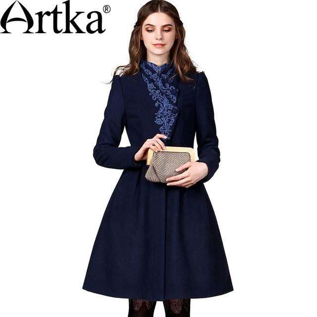 Artka Wool Coat Female Autumn Jacket 2017 A-Line Elegant Ladies Overcoat Embroidery Vintage Coat Brand Women's Outwear FA10149Q