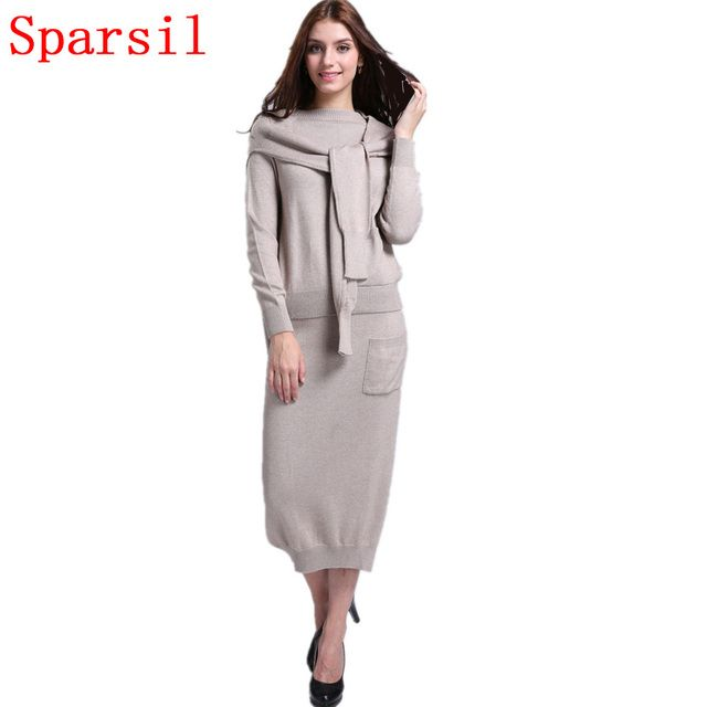 Sparsil Women's Autumn&Winter Cashmere Blend Knitted O-Neck Sweater+Long Skirt+Fashion shawl/Set Female Casual Knitwear Pullover