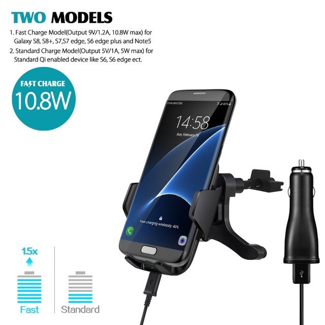 Qi Wireless Car Fast Charger Stand Air Vent Mount Holder For Samsung Galaxy S6 S7 S8 S6 edge Note 5 for Iphone with Car Charger