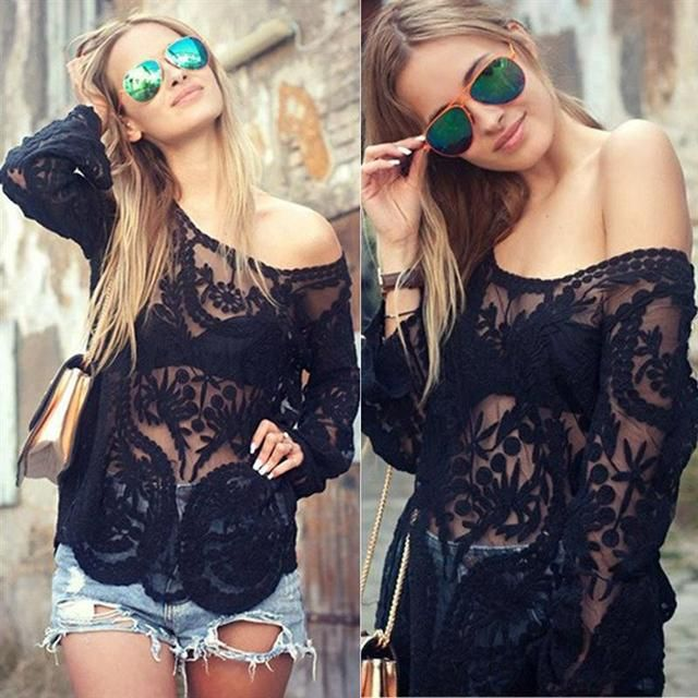Sexy Lace Autumn Women Blusas Off Shoulder Crochet Solid Shirts Long Sleeve Slim Casual Basic Tops