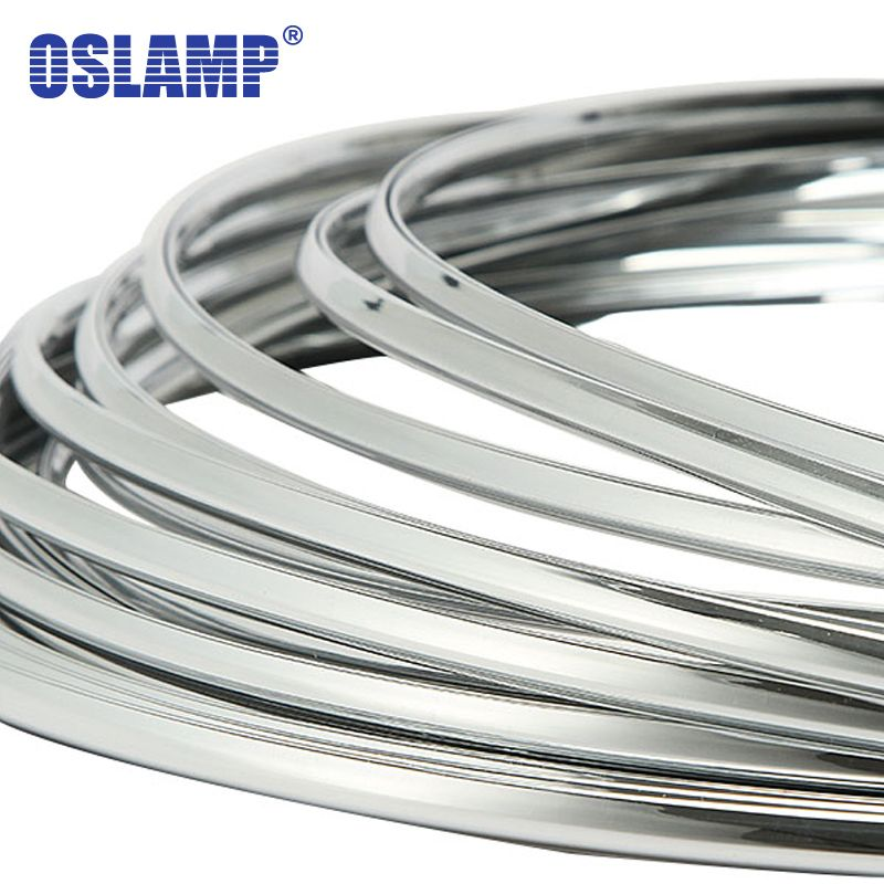 Oslamp 6mm in Width 3 Meters Car Chrome Silver Mouldings Strip Decoration Adhesive Bumper Grille Impact Protecting Trim