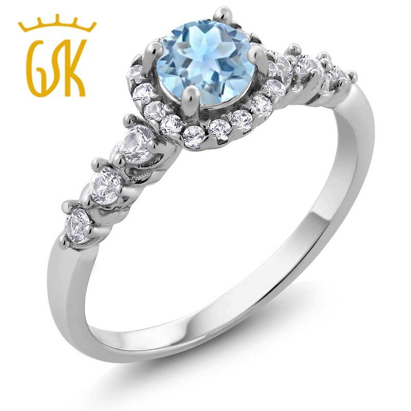 GemStoneKing Vintage 925 Sterling Silver Jewelry 0.87 Ct Round Natural Sky Blue Aquamarine White Topaz  Women Engagement Ring
