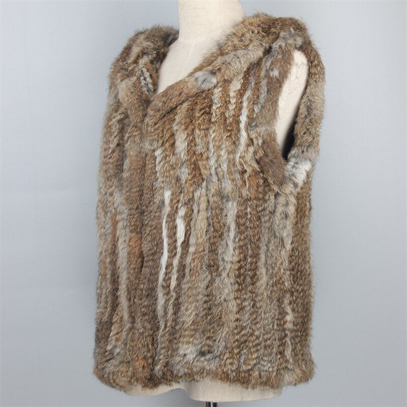 Natural Hooded Rabbit Fur Vest Short Genuine Knitted Fur Gilets Women Real Fur Coat Sleeveless Girls Fur waistcoat colete pele