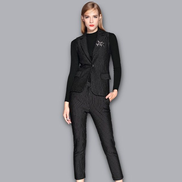 Aliya autumn Winter Hot Sale Casual Fashion brand clothin sleeveless Single Button Vest Nine pants Two-piece suit For Women