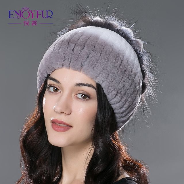 ENJOYFUR women new fur hats real rex rabbit fur hat silver fox fur flower design caps 2017 new style good quality  real fur hats