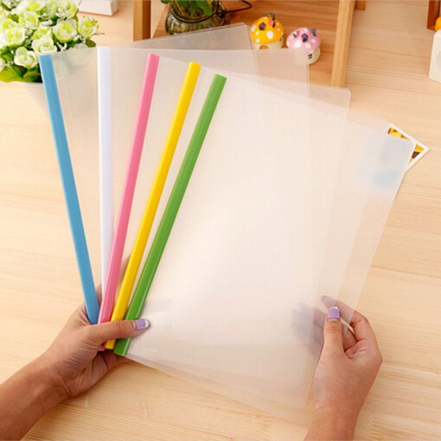 10pcs/lot A4 Size Transparent Rod Pumping Folder School Business Office Supplies Folder Plastic Storage Documents Paper Clip
