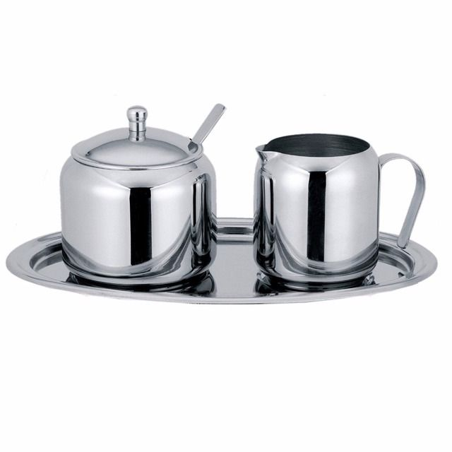 5-Piece Cream and Sugar Set-the set includes a covered sugar bowl with spoon, a creamer and an oval tray(00331)