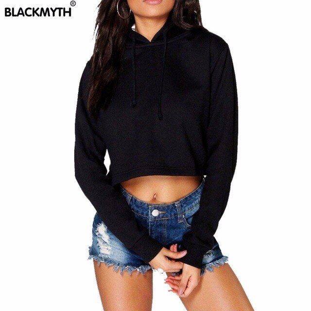 Fashion Women's Pullovers Hoody Sweatshirt Crop Tops Black White Tracksuits Bare Midriff Hoodies