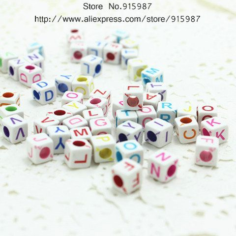Sweet Bell Free Shipping 500pcs 6*6*6mm 3D mini Alphabet /Letter Acrylic Cube Beads Plastic Letter Spacer Beads diy Beads  D0232