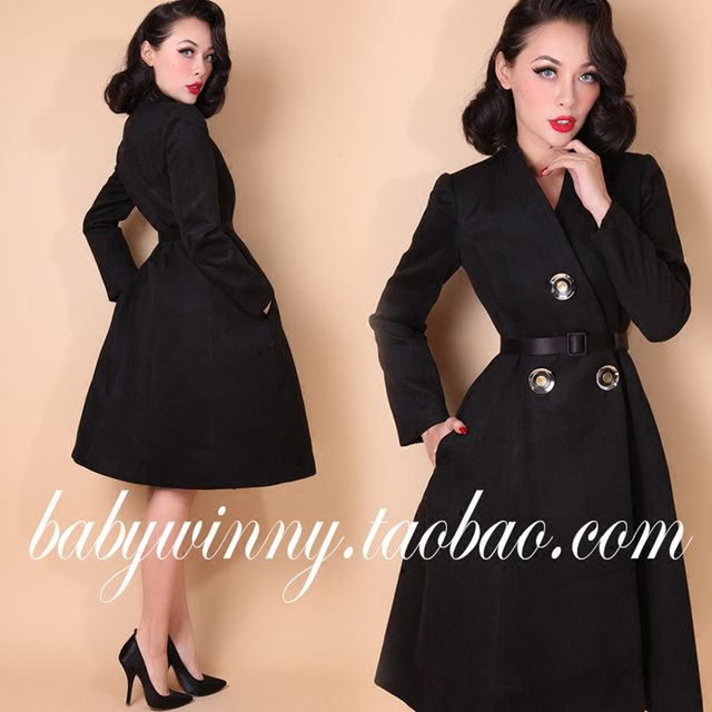 FREE SHIPPING 2016 New Springn Vintage Classic Elegant All-match Large Buttons Woolen Blend Black Slim Long Coat Women Clothes