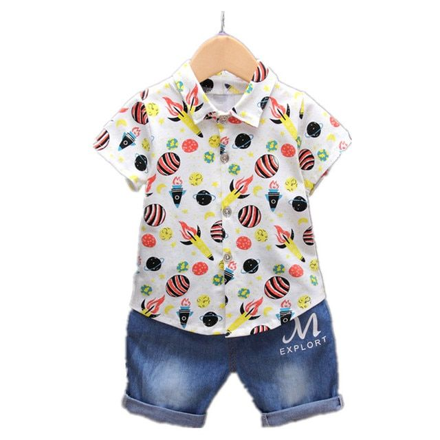 children's clothing Boy's clothes Short sleeve shirt and pants 2 pieces Clothing Sets for Boys Kids clothing summer baby clothes
