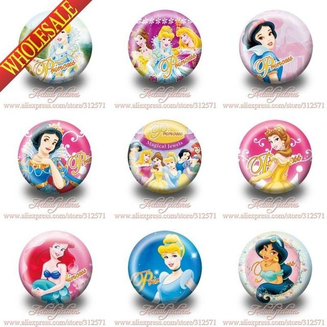 All girls like it !!18pcs/lot princess Buttons Pins Badges 30mm party gift,Round Brooch Badge,Decoration Bag.Birthday Gift
