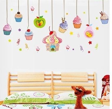 hang ice cream cakes wall stickers girls rooms home decor kids vinilos decals birthday party decorations cheap gifts from china