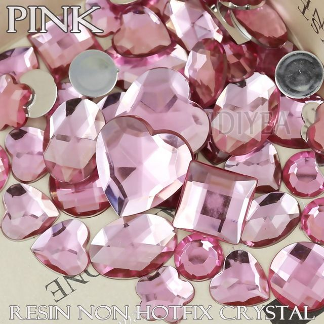 100Pcs/Lot Mix Sizes Shapes Pink Big Rhinestones square heart oval horse eye star drop Resin Non Hotfix Flat back Crystals