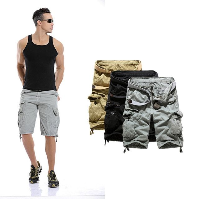 Men Casual Beach Boardshorts Fashion Solid Color Cargo Military Shorts Big Size 36 38 40