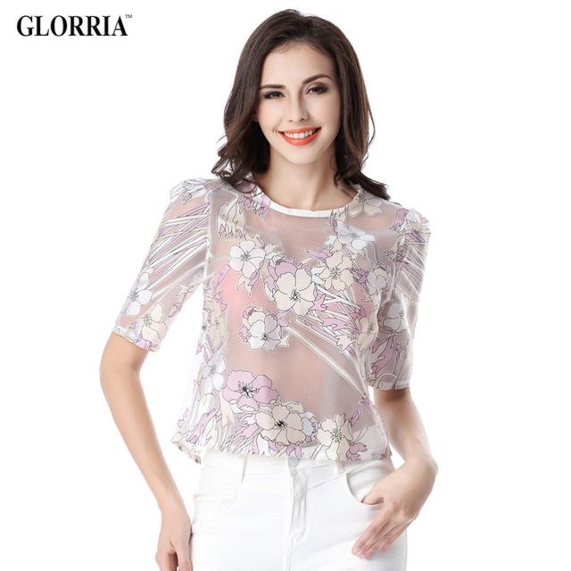 Glorria Women Thin Semi-transparent Floral Print Organza Blouses Summer Casual Fashion Sexy O-Neck Short Tops