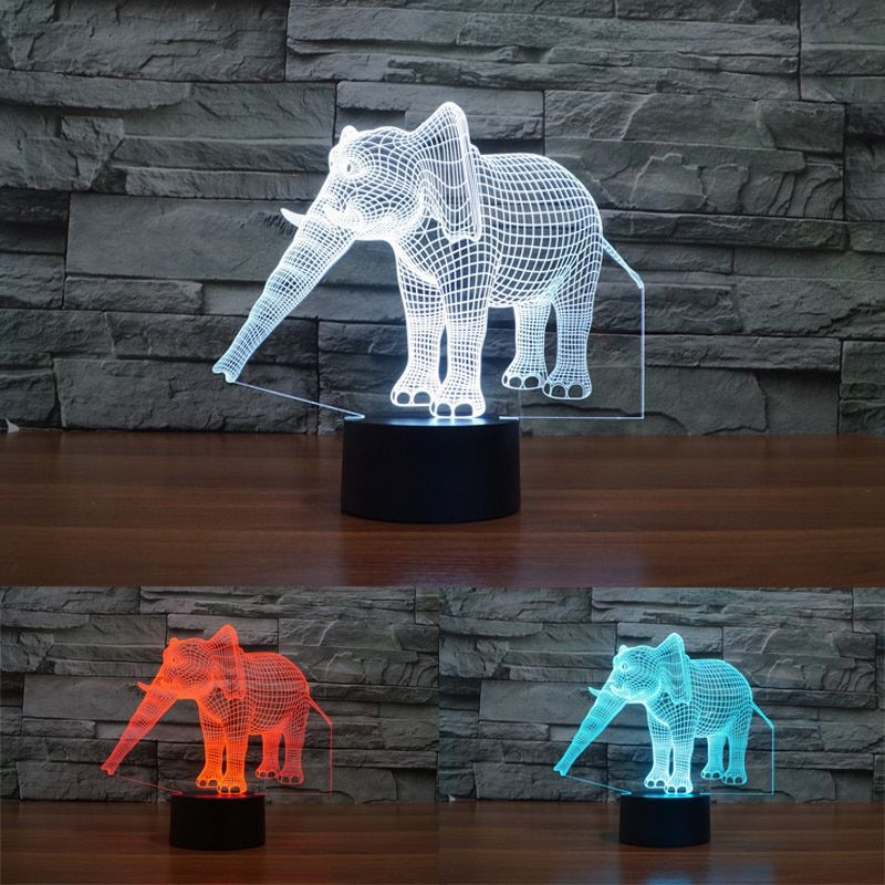 New Elephant Night Light Creative Lights 3D Vision Atmosphere Lights Luminaria Mood Lamp for Home Decoration Beside Table Lamp