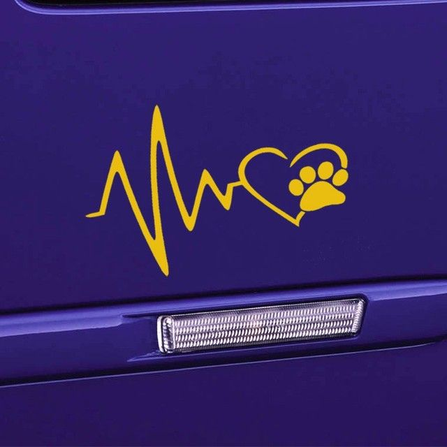 car styling Heart Beat Paw Dog Cat Pet Lover Animal Art Car Sticker for Truck SUV Bumper Motorcycles Laptop Car Covers Jdm