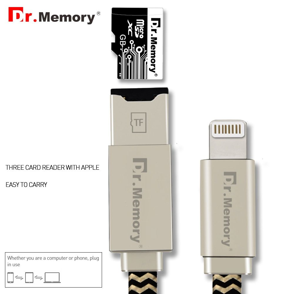 Dr.Memory Multifunctional TF Card Reader For iPad/iPhone 5 5s 6s 7 7plus Charging Lightning Cable For iPhone Memory Card Reader