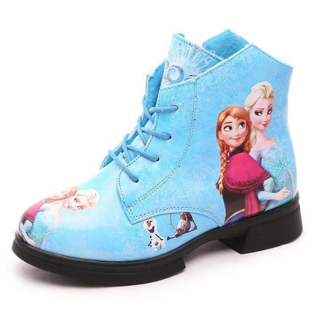 New Arrival Martin boots Elsa Anna snow boot Child PU leather fashion  Girls shoes kids winter sneaker Christmas gift