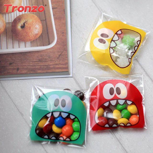 Tronzo 100pcs Birthday Gift Bag For Kids Wedding Favors And Gifts Funny Monster Candy Cookie Plastic Bag Birthday Party Supplies