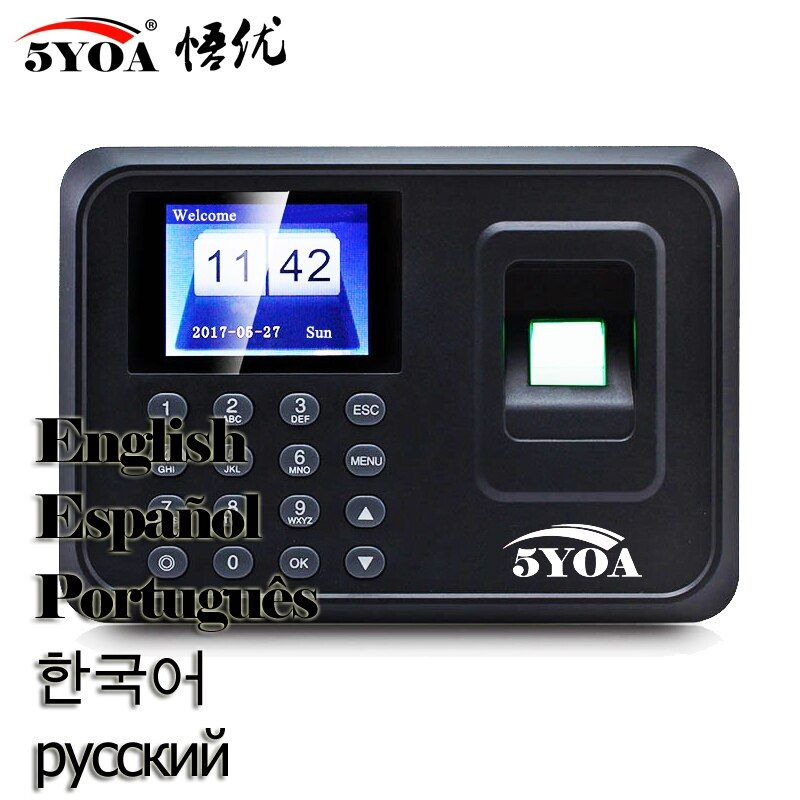 A01 Biometric Fingerprint Time Attendance System Clock Recorder Employee Electronic English Spanish Spain Reader Machine