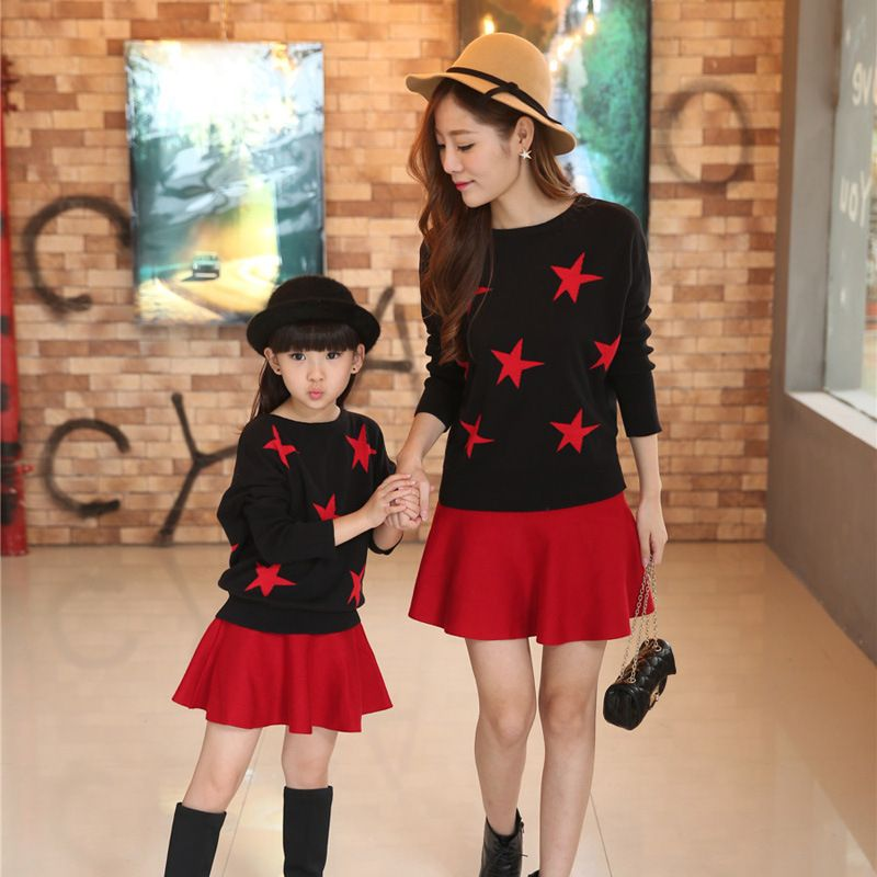 Mother & Kids Clothing Sets Winter Spring Knit Sweater Girl Clothing Bat Shirt+Skirt Kids Clothes Fashion Mother Girls Costumes