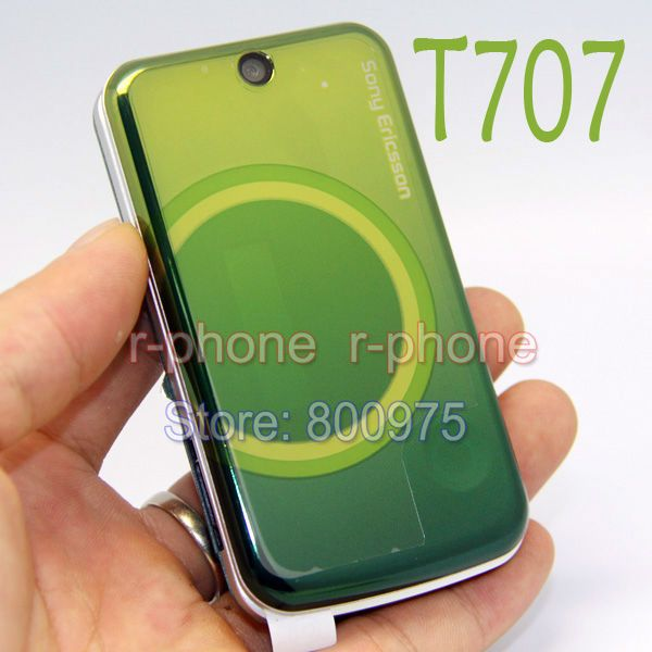 Original Refurbished Sony Ericsson T707 Mobile Phone Unlocked Flip 3G Smartphone T707  Green & Gift One year warranty
