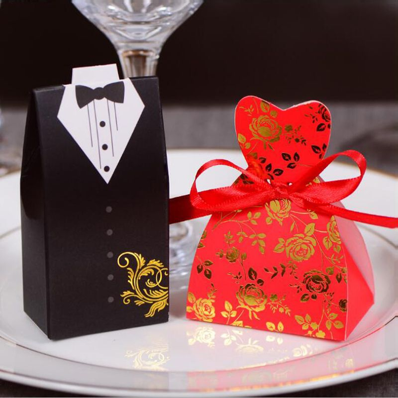 100pcs/lots Bride And Groom Wedding Candy Box Gift Favour Boxes Wedding Bonbonniere Event Party Supplies With Ribbon