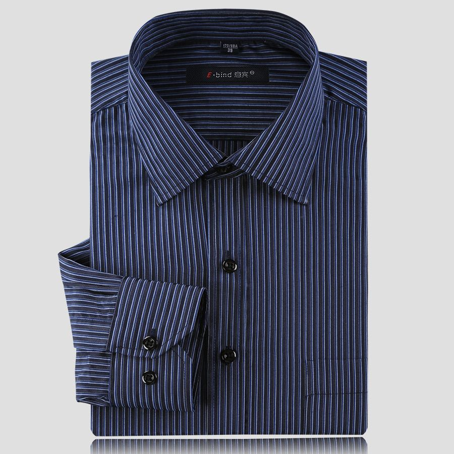 Long Sleeve Mens Business Dark Strip Shirts High Quality Top Brand Luxury Man Mature Shirts Casual Plus Size 3XL Dress Shirts