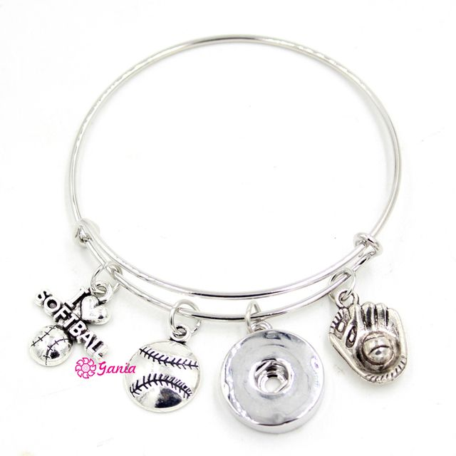 10PCS/LOT New Wholesale DIY Jewelry Sport I LOVE Softball Charm Adjustable Wire Snap Bracele&Bangle for Sport Fans Gift
