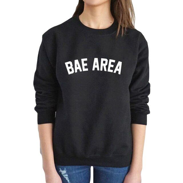 BAE AREA print casual tracksuit women autumn black white o-neck hoodies sweatshirt sudaderas mujer 2017