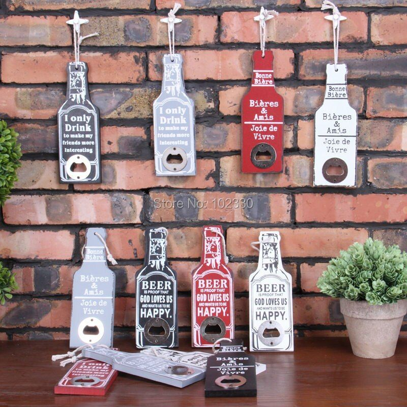 Retro Wood Beer Opener Bar Restaurant Home Bottle Shape Wall Hanging Party Supplies Creative Funny Gift S201792