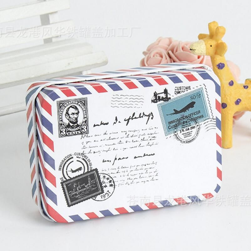 Mini Metal Tin Box Container Christmas Gift Candy Boxes Envelope Trinket Iron Box tea Storage Box card organizer case LW0344