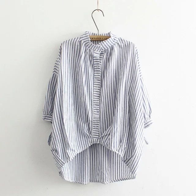 2016 Spring Summer New Fashion Bat Sleeve Striped Shirt Irregular Loose Plus Size Curved Hem Blouse For Women Cotton Shirt LD178