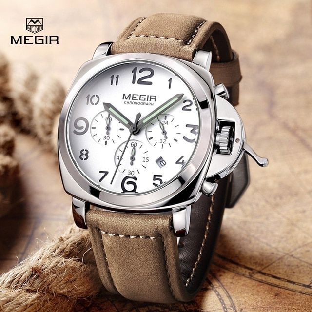 Top Luxury Brand MEGIR Quartz Watches Men Analog Military Chronograph Clock Men Sports Leather Strap Casual Wrist Watch 2016 New