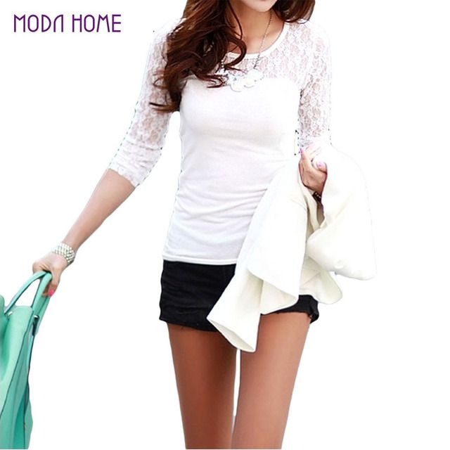 2017 Summer Women's Lace T Shirt Plus Size XXL Organza Tops O-neck Long Sleeve Hollow Out Crochet Lace Women Tees Casual Top